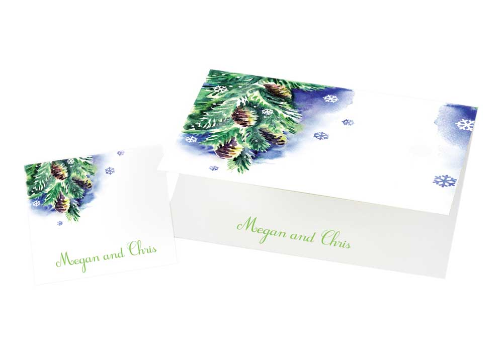 Watercolor Starry Night and Ornaments Holiday Cards