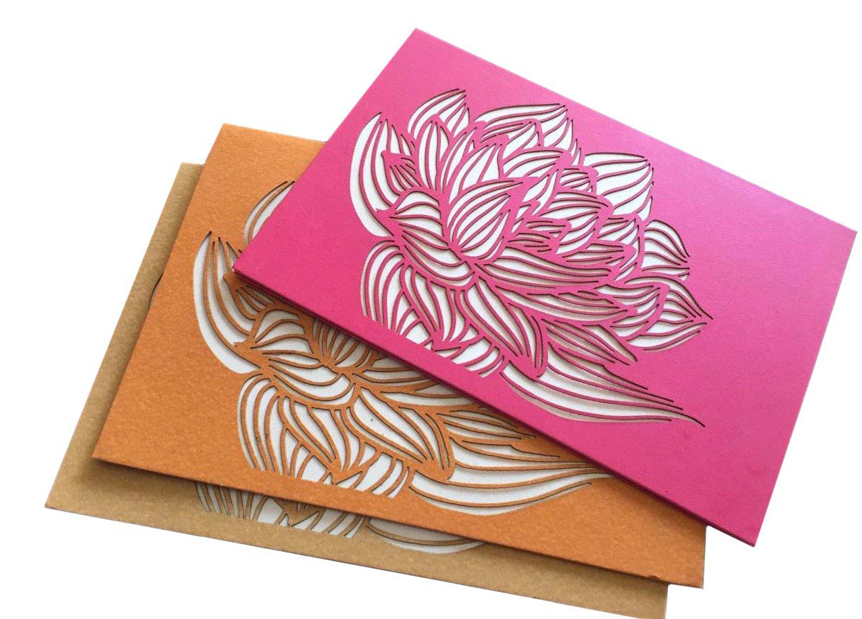Lotus Laser Cut Cards