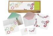 Watercolor Wreath and Floating Snowflakes Holiday Cards