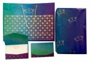 Custom Gold Jali Print Bags, Wrapping Paper & Cards