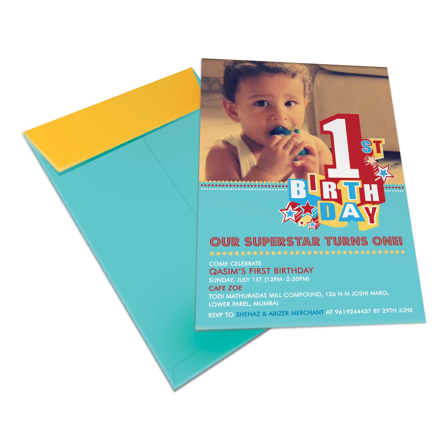 First Birthday 'Qasim' Invite