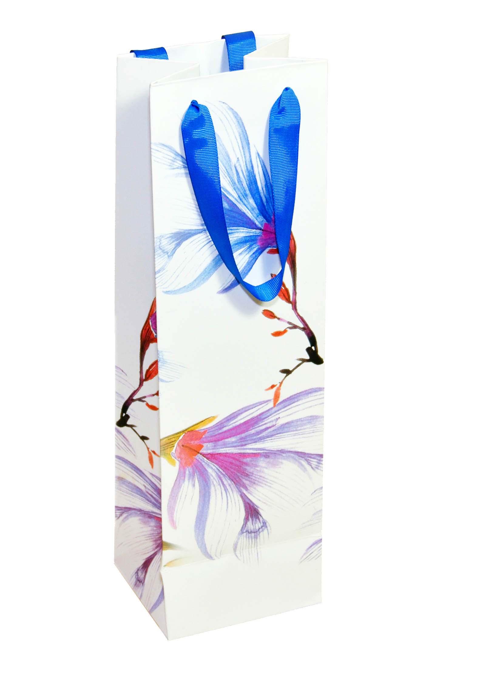Lilac Waterlilies Wine Bags